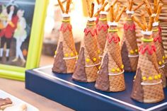 Teepee's made out of ice cream cones at a Peter Pan themed birthday party via Kara's Party Ideas   KarasPartyIdeas.com