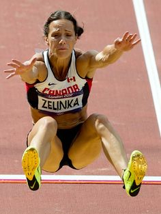 Jessica Zelinka, Canada, competes in the long jump portion of the Women's Heptathlon