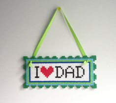 I LOVE DAD Wall Hang perler beads decor by AkikoJennDesigns