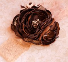 Café au lait boutique headband- photo prop- fall headband- persnickety golden girls- holiday gift- shabby chic couture