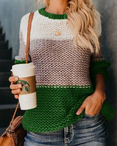 Patchwork Pullover Women Sweater Knitwear Autumn Winter Sweaters O-Neck Pullovers Casual Knitted Jumpers Casual Sweaters, Pullover Sweaters, Sweaters For Women, Knit Sweaters, Comfy Sweater, Winter Sweaters, Casual Shirts, Winter Coats, Curvy Women