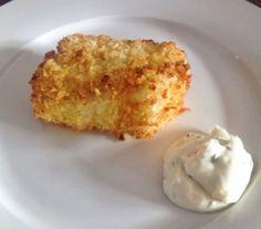 Gebakken vis uit de Airfryer. Een krokant korstje van knapperige vlokjes omhult de sappige kabeljauw. http://eetnieuws.nl/?p=1061