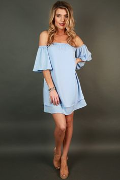 Love Struck Off Shoulder Dress in Serenity