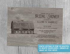 Vintage Farm Bridal Shower Invitations