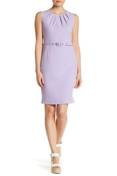 Image of Nine West Stretch Crepe Belt Dress