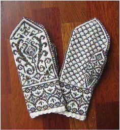 Ravelry: La Joie du Printemps pattern by Heather Desserud Nordic mitten Knitted Mittens Pattern, Knit Mittens, Knitted Gloves, Knitting Socks, Hand Knitting, Knitting Charts, Knitting Patterns, Norwegian Knitting, Fair Isle Knitting
