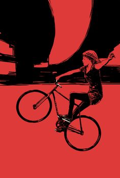 illustrations created from photos of fixed gear girls found online