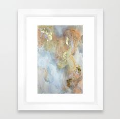This framed abstract art print is called Reef. It comes in a variety of sizes and framing options. Let this calming piece of art bring soothing soft vibes into your bedroom, living room, dining room or office. This piece mixes peach, blue, grey, white, and golds. Perfect to add a pop of color and a peaceful presence to your space. Shop Christine Olmstead prints now.