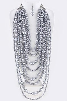 Chunky gray statement faux pearl necklace set