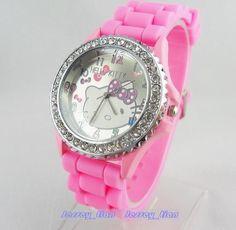 New Lovely helloKitty Lady Women Girls' Crystal Silicone Quartz Wrist Watch Pink