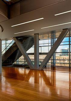 MOD-KOL-100 - Create LED lighting fixtures built in the ceiling, installable and serviceable as a system. Possibility of placing power supplies in any section of the lighting fixture. Twórz sufitowe, wbudowane oprawy LED, umożliwiające systemowy montaż i serwis. Możliwość umieszczania zasilaczy w dowolnym odcinku oprawy LED. #klusdesign #ledprofile #ledextrusion #ledaluminiumprofile #ledlighting #lineoflight #ledrecessedlighting #recessedlighting #recessedceilinglights #publicspace Led Light Fixtures, The 100, Stairs, Ceiling, Public Spaces, Lighting, Design, Profile, Home Decor