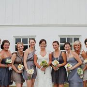 bridesmaids-i love the idea of sticking to a broad color scheme and each girl choosing a dress to match their own style :)