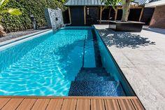 Poolside decking infinity pool