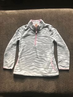 b5ef07bf337f9 Girls Faded Glory Fleece Pullover Sweater Medium Size 7/8 Grey Zebra Pink  #fashion #clothing #shoes #accessories #kidsclothingshoesaccs ...