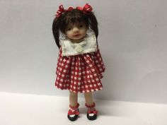 Miniature Girl Doll, Red Dress,OOAK, Hand Sculpted, B Justice | eBay!