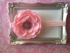 Baby Headband Pink Flower with Fancy Light by LittleMissBlingNYC, $9.95