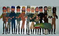 Antique Wooden Punch and Judy Puppet Hand Stick Puppets Complete Set 13 Germany | eBay