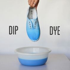 If you're like me – I can never keep my white shoes looking white – might I suggest some dip dye shoes? Here's a step by step tutorial to give any old pair of canvas shoes a colour gradient update.