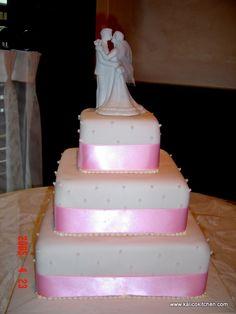Wedding Cakes- 3 tier, fondant, square, pink ribbon, sugar pearls