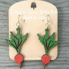 Radish, Cherry Red & Kelly Green - Laser-Cut Wood by Green Tree Jewelry - product images  of