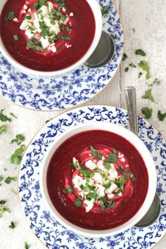 A delicious and healthy lunch recipe using beets. Beetroot and Carrot Soup topped with Feta Cheese.