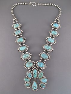 Kingman Turquoise Squash Blossom Necklace Earrings Set