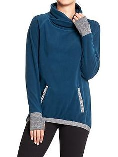 Womens Performance Fleece Funnel-Neck Pullovers - Blue or black