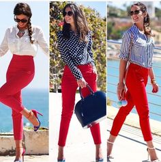 Nice looks with red pants Awesome Casual Winter Outfits Trends Ideas Summer Work Outfits, Casual Summer Outfits, Classy Outfits, Chic Outfits, Spring Outfits, Fashion Outfits, Summer Clothes, Fashion Clothes, Womens Fashion