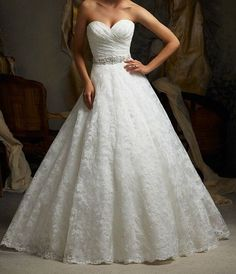 White / Ivory A-line lace wedding dress sweetheart beaded bridal gown, cathedral wedding dress...LOVE!