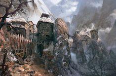 mountain village fantasy medieval sina landscape dwarf rpg artstation landscapes whatley jesse
