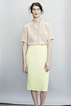 Cos Stores: Cut to sit high on the waist, this pale neon skirt is a straight, tailored fit with a narrow waistband. Tencel-cotton, shawl-neck shirt.
