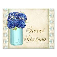 Vintage Hydrangea Mason Jar Sweet Sixteen Party Personalized Invitation