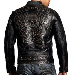 Affliction Black Premium - REBELLIOUS - Men's Leather Biker Jacket MOTO - Black