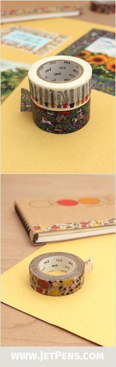 Whimsical MT Almedahls Washi Tapes feature Swedish-designed patterns like mushrooms and coffee mugs.