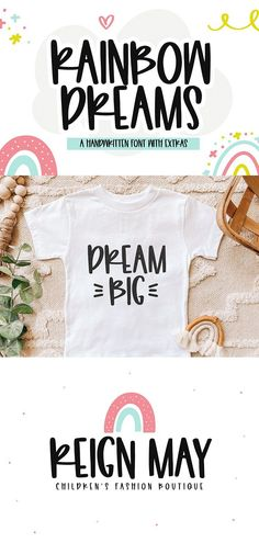 Download Rainbow Dreams - A Fun Handwritten Font with Extras (775198) today! We have a huge range of Regular products available. Commercial License Included. Kid Fonts, Cute Fonts, Awesome Fonts, Handwritten Fonts, Typography Fonts, Monogram Fonts, Monogram Letters, Doodle Fonts, Hand Lettering Tutorial