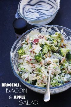 Broccoli, bacon  apple salad by Scrummy Lane may not look that good but it is definitely delish