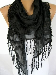 A personal favorite from my Etsy shop https://www.etsy.com/listing/184992594/black-scarf-women-scarves-guipure