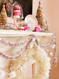 Pink Christmas mantle!