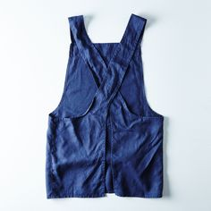 Hand-Embroidered Navy Linen Apron on Pick Stitch, Linen Apron, Apron Dress, Pinafore Dress, Overall Shorts, Different Styles, Smocking, Printing On Fabric, Perfect Fit