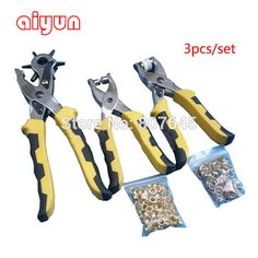 Купить товар 3pcs/set punch plier Duty Leather Hole Punch Hand Pliers Belt Holes Punches with 200pcs grommet setting tool kits http://ali.pub/sykmo