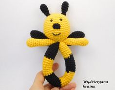 Crochet bee rattle newborn gift baby toy