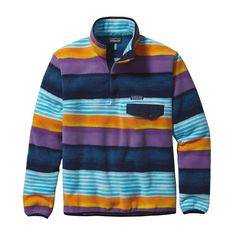 Patagonia Mens Lightweight Synchilla Snap-T Fleece Pullover Painted Fitz Stripe: Navy Blue