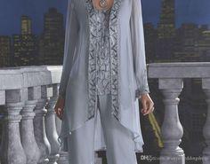 Sparkle Sequins Madre de los trajes de la novia pantalones más tamaño de manga larga Jewel Custom Made vestidos de invitación de la boda de gasa para el novio de la madre