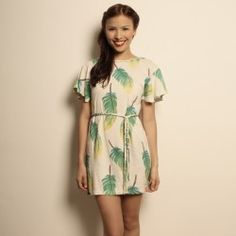 Organic Cotton Feather Trim Mini Dress -Mini dress with braided belt made of eco friendly unbleached organic cotton. http://www.etrican.com/feather-trim-mini-dress.html