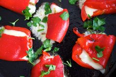 Cheese Stuffed Roasted Red Peppers (Appetizer)