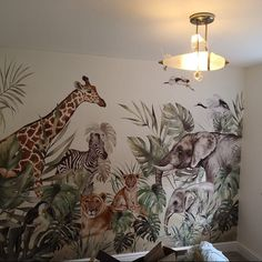 SAFARI - Customized wallpaper for children with animals - Wall Mural - Nursery wallpaper Nursery Wall Murals, Bedroom Murals, Nursery Wallpaper, Kids Wall Decals, Animal Wallpaper, Baby Room Design, Baby Room Decor, The Animals, Jungle Baby Room