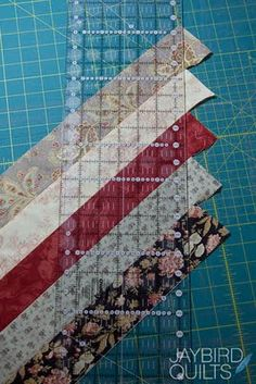 Quilt Binding Basics - Part 3 (Scrappy Bias Binding How-to) | Jaybird Quilts    varying widths and lengths. My strips were between 3 and 6 inches wide, and a multitude of lengths.    Don't piece more strips than your ruler can cut