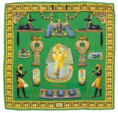 Tutankhamun, Silk Shawl, Silk Scarves, Hermes Scarves, Scarf Design, Vintage Scarf, Green Silk, Chicano, Womens Scarves