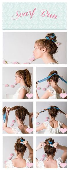 Hairstyle // Cute scarf bun hairstyle tutorial.