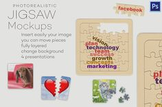 Photorealistic jigsaw puzzle mockups Graphics Photorealistic jigsaw / puzzle mockups- 4 Presentations - 4 Photoshop files ) (photoshop is by Illusiongraphic Business Card Mock Up, Business Brochure, Stickers Design, Brain Logo, Mockup Photoshop, Billboard Signs, Mockup Templates, Design Templates, Table Design